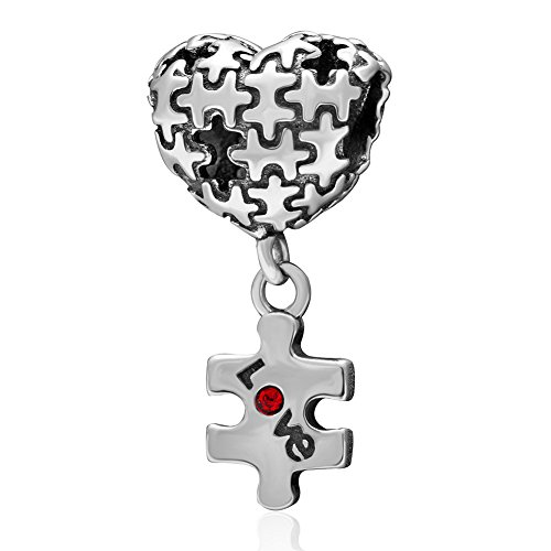 hoobeads 925 Sterling Silber Puzzle Autismus Herz Love Mit Rot Kristall Dangle Bead