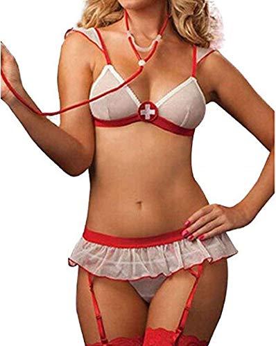 FONDBERYL Frauen Lingerie Dessous Babydolls Nachtkleid Rückenfrei Spitze Pflegeuniformen gebündelte Krankenschwester Kostüm Sexy Cosplay , M, Type 3 (Sexy Krankenschwester Neckholder Kleid Kostüm)