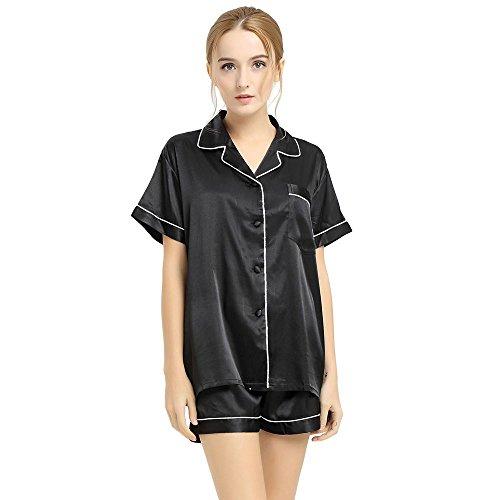 Ensemble de pyjama en Satin femme à manches courtes et short XS~3XL plus Black