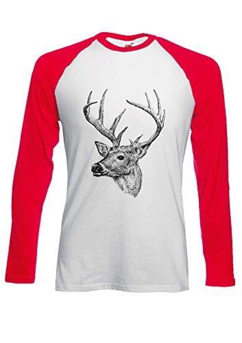 Deer Drawing Art Funny Novelty Black/White Men Women Damen Herren Langarm Unisex Baseball T Shirt Verschiedene Farben Rot