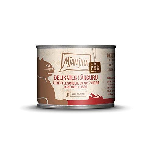 MjAMjAM - Premium Nassfutter für Katzen - purer Fleischgenuss - zartes Känguru pur, 6er Pack (6 x 200 g), getreidefrei mit extra viel Fleisch