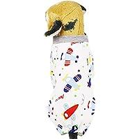 Amphia - Pet vierbeiniger bedruckter Schlafanzug, Hundebaumwolle vierbeiniger Hausservice,Haustier Hund Welpen Nachtwäsche Pyjamas Kleidung Overall Baumwolle Kleidung Kleid Kostüm(M,D)