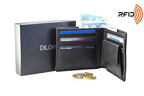 DiLoro Leder Geldbörse Portemonnaie Brieftasche Geldbeutel Schwarz Echtes Leder Herren Flach mit Münzfach RFID Schutz 2401-BK
