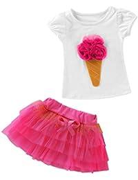 QUICKLYLY 2PCS Camisetas Bebé Niño Niña Manga Corta Vestir Tutu Falda  Vestido Verano Primavera Algodón Recién 0b32098fe48