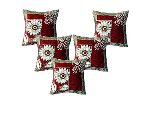 Wow Elegant Floral Velvet Cushion cover ( Set of 5 )