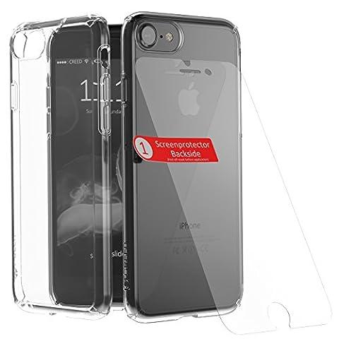 CREED iPhone 7 Ghost GLASS EDITION (inkl. iPhone 7 Panzerglas / iPhone 7 Panzerfolie) Schutzhülle für iPhone 7 Hülle - Schutzhuelle, iPhone 7, iPhone 7 Case - flexibles Smartphone-Case inkl. maßgefertigtem Display-Schutz aus Glas [Screen Protector] - iPhone 7 Schutzhülle in transparent [Crystal Clear]