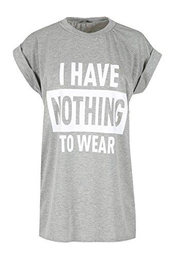 Be Jealous Damen aufgerollter Ärmel NEUHEIT TOP DAMEN Ich habe Nothing zu tragen T-Shirt UK 8-14 - grau, Plus Size (UK 20/22) -