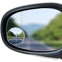 almondcy-blind spot specchi auto lato punto cieco specchio convesso 2PCS 52mm 5,1cm 360retrovisori grandangolare rotonda regolabile bastone Rimless + 30° Sway Adjustabe HD vetro convesso grandangolare retrovisore per tutte le auto SUV camion moto