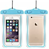 SAFESEED Waterproof Mobile Pouch For All Smart Phone Dimensions Upto 160X80 mm - Sky Blue