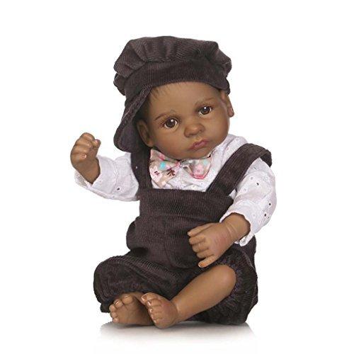 oll 26cm Schwarz Alive Wiedergeboren Baby Puppen Silikon Ganzkörper African American Junge Augen offen ()