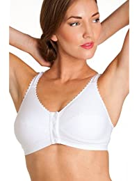 Camille Womens Ladies Womens White Non Wired Full Cup Front Fastening Bra