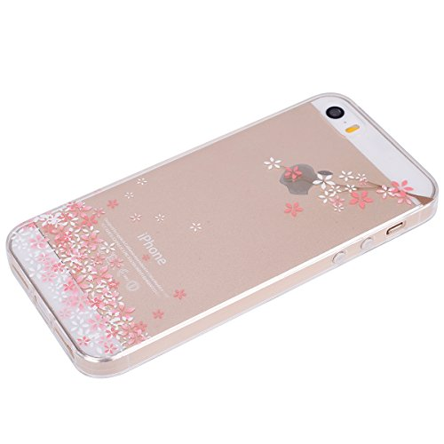 Cover per iPhone 5S, Custodia iphone SE, iphone 5 Custodia Silicone, MoreChioce Moda Funny Cute Fiore Animal Painting Colorato Custodia, Ultra Slim 3d Gel Soft Silicone Gomma Morbido TPU Trasparente C Fiori di ciliegio,C#5