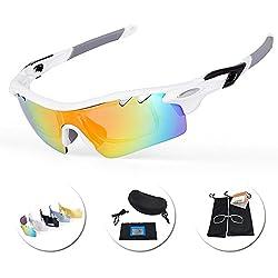 IKuaFly Gafas Ciclismo, Gafas de Sol Polarizadas con 5 Lentes Anti-Fog 400 UV TR90 Marco, Blanco