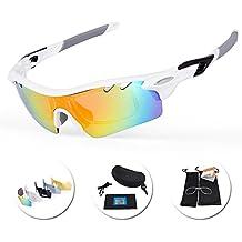 IKuaFly Gafas Ciclismo, Gafas de Sol Polarizadas con 5 Lentes Anti-Fog 400 UV