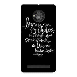 Delighted Quote of Love Multicolor Back Case Cover for Yu Yuphoria