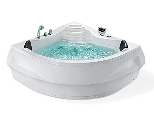 Whirlpool Badewanne St. Tropez mit 14 Massage Düsen + Heizung + Ozon Desinfektion + LED Unterwasser Beleuchtung / Licht + Wasserfall + Radio – Sprudelbad Hot Tub indoor / innen