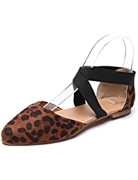 JiaMeng Zapatos Sandalias Casuales Zapatos Dedo del pie Puntiagudo Sandalias Casuales de Leopardo Planas Zapatos Individuales