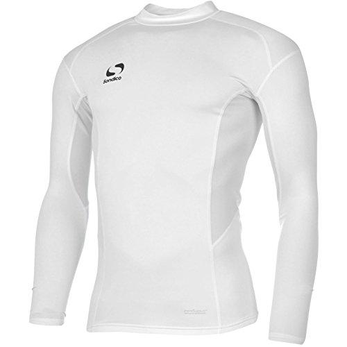 Sondico Kinder Baselayer Langarm Kompression Sport Top Oberteil Funktion Shirt Weiss 11-12 Yrs -