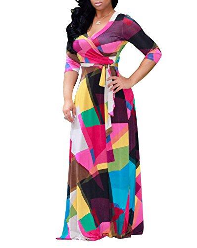 Donna Vestito Lungo Estivo Collo V Casual Elegante Floreale Bohemian Abito da Spiaggia Manica a 3/4 1123