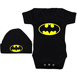 Acce Products Bat Baby Grow/Bodysuit/Romper/T-Shirt & Beanie Hat/Cap - 6-12 Months - Black