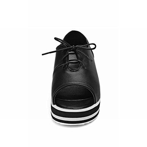 Mee Shoes Damen open toe Keilabsatz mit Schnürsenkel Sandalen Schwarz