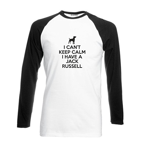 Brand88 - I Can't Keep Calm I Have A Jack Russell, Langarm Baseball T-Shirt Weiss & Schwarz