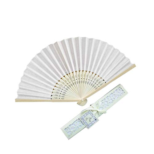QinMM Japanischer Handfächer, Atemberaubende Seidenfächer mit Geschenkbox Hochzeitsgeschenke Chinesische Tanzparty Strandgeschenke Mehrfarbig (Beige)