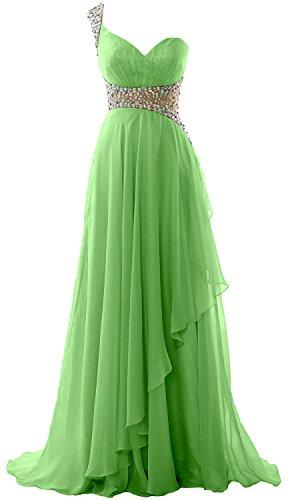 MACloth Elegant One Shoulder Chiffon Long Prom Dress 2018 Formal Evening Gown Menthe