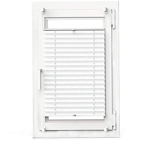 OBdeco Plissee Rollo Klemmfix ohner Bohren Faltrollo für Fenster Blickdicht Sonnenschutz Easyfix Weiß 85x130cm