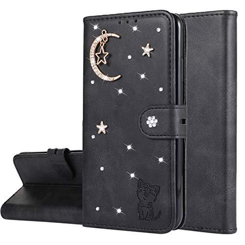 Miagon Diamant Brieftasche Hülle für iPhone 6S Plus / 6 Plus,Mond Star Katze 3D Design PU Leder Flip Handyhülle Klapphülle Klappbar Silikon Bumper Schutzhülle,Schwarz
