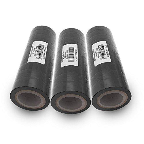 Isolierband 18mm 30x schwarz 10m je Rolle Klebeband Isolier band Isoband Universal selbstklebendes Klebe Band zum isolieren reparieren elektrischer Leitungen installation kfz ARLI 30 Stück