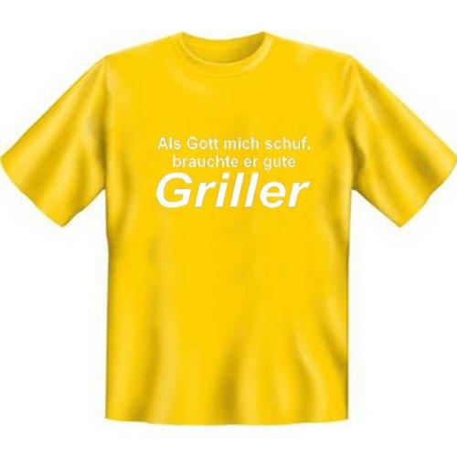DAS Shirt für BBQ-Fans und Grillprofis: Als Gott mich schuf, brauchte er gute Griller T-Shirt, Farbe gelb, Gelb