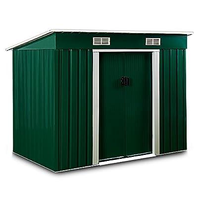 Gerätehaus Metall 196x122x180 cm mit Schiebetüren und Fundament von Deuba bei Du und dein Garten