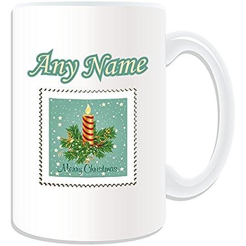 Regalo personalizzato–Candela di Natale timbro tazza (Merry Christmas, motivo design,