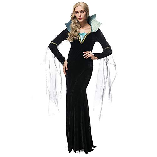 Zauberin Kostüm Königin Böse - YHNUJMIK Böse zauberin kostüm Halloween Spiel uniform hexenkönigin Dress Cosplay Schwarze königin kostüm mit Rock + gürtel Erwachsene Frau
