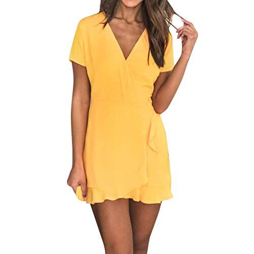 POPLY Frauen Sommer Kleider V-Ausschnitt Kurzarm Schlank Stil Kleid Einfarbig Damenrock Women Minikleid(Gelb,XXL)