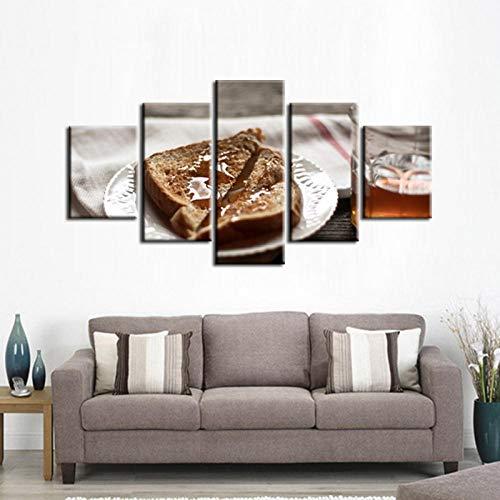 Panel Poster Schlafzimmer Serie (ACCEY 5 Panel Moderne Gedruckt Lebensmittel Poster Serie Malerei Bild Leinwand Kunst für Wohnzimmer, ungerahmt 40X60 40X80 40X100 cm)