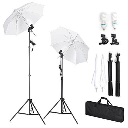 Amzdeal Set 2 Ombrello fotografico 1124W, Kit di illuminazione con 2 lampadina 135 Watt 5500K, 2 stativi e borsa di spugna per Fotografia Professionale