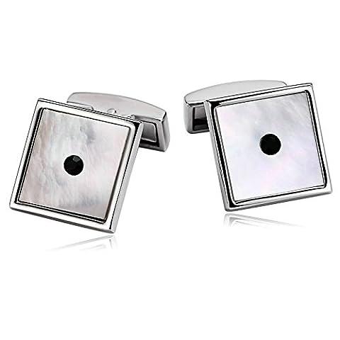 Epinki Stainless Steel Cufflinks for Men Business Wedding Square Shell Black Crystal Pierced Black White