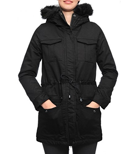 Schott NYC Jktsaraw Ladies Hodded Parka, Giubbotto Donna, Nero, 42