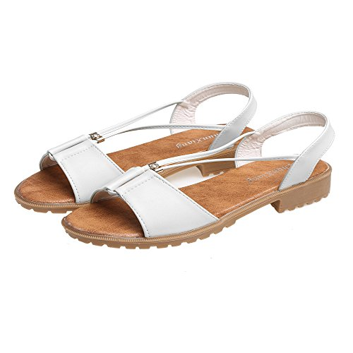 cooshional Damen Sandalen Peep Toe Flach Sommer Schuhe Sandaletten Weiß