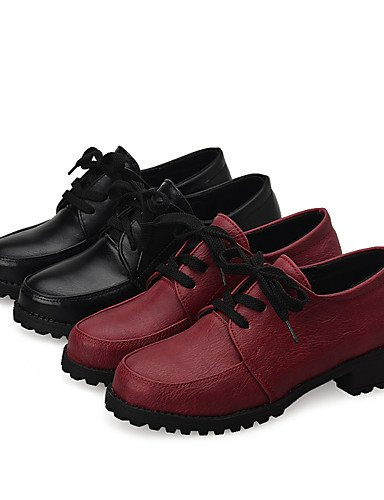 ZQ Scarpe Donna-Stringate-Casual-Chiusa-Basso-PU (Poliuretano)-Nero / Rosso , red-us10.5 / eu42 / uk8.5 / cn43 , red-us10.5 / eu42 / uk8.5 / cn43 red-us7.5 / eu38 / uk5.5 / cn38