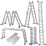 4.7M Leiter Mehrzweckleiter Klappleiter Gelenkleiter mit Plattform 4x4 Sprossen Aluleiter Multifunktionsleiter Kombileiter Anlegeleiter Stehleiter aus hochwertigem Alu belastbar bis 150 kg
