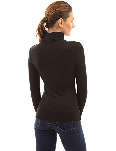 PattyBoutik Lange Ärmel Damen Pulli mit besonderem Rollkragen schwarz und weiß