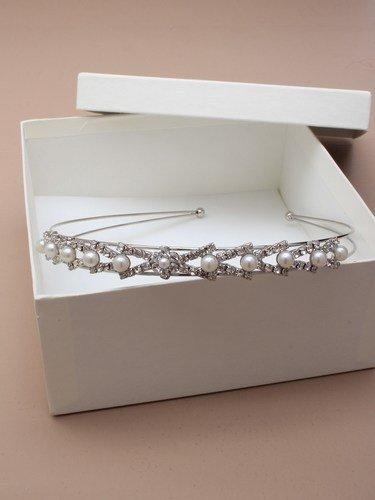 Serre-tête Alice argenté style vintage art déco avec cristaux et fausses perles
