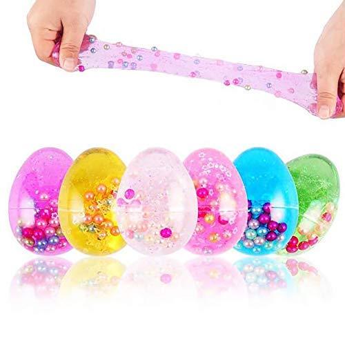 Uovo melma morbido non tossico colorato melma lanuginoso profumato sollievo dallo stress giocattolo fango giocattoli magici di argilla di cristallo con perle e perline in uova di pasqua (6 pezzi)
