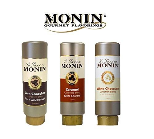 Set de Sauces Aromatisées Monin, Caramel, Chocolat Blanc, Chocolat Noir, Set 3 Pièces, 3 x 50 cl