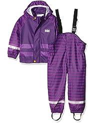 Helly Hansen K Voss Rainset Aop - Conjunto chaqueta y mono con peto y tirantes para niños, color morado, talla 122/7