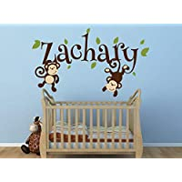 Boys Monkey Name Decal Monkey Decal Swinging Monkey Decal Nursery Decor Jungle Theme Nursery Decor Vinyl Wall Decal