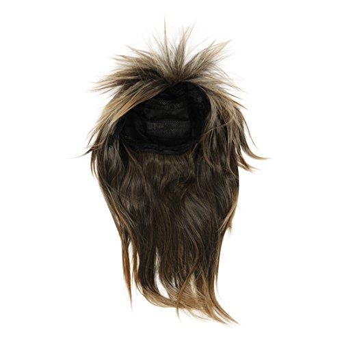 SODIAL(R) 80er Damen Glam Punk Rock Rocker-Kueken Tina Turner Peruecke fuer eine Kostuem - Braun Schwarz